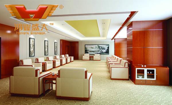 鸿业设计师根据要点1,为客户设计的3D接待室家具摆放效果图解决方案