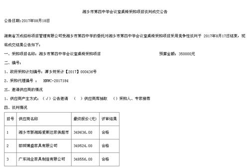 湘乡市第四中学亚博app地址亚博体育苹果官方下载中标公告