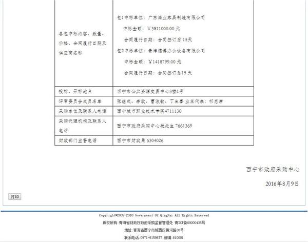 西宁城市职业技术学院18新利体育app家具项目中标公告