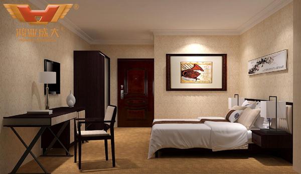 贵州贵阳国际人才公寓酒店标准大床房3D室内家具摆放图