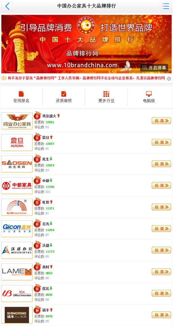 2016年度中國辦公家具十大品牌評選-十大品牌