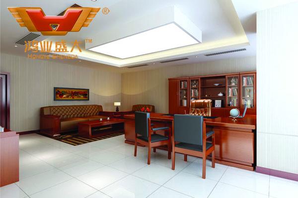 鸿业设计师根据要点1,为客户设计的3D总经理办公室家具摆放效果图解决方案