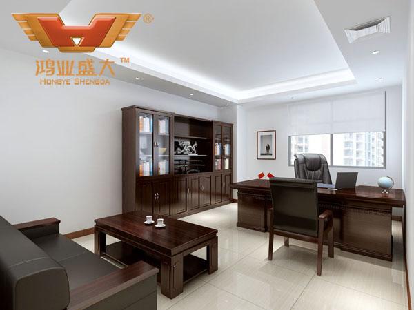 鸿业设计师根据要点2,为客户设计的3D总经理办公室家具摆放效果图解决方案