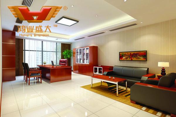 鴻業設計師根據要點1,為客戶設計的3D經理辦公室家具擺放效果圖解決方案