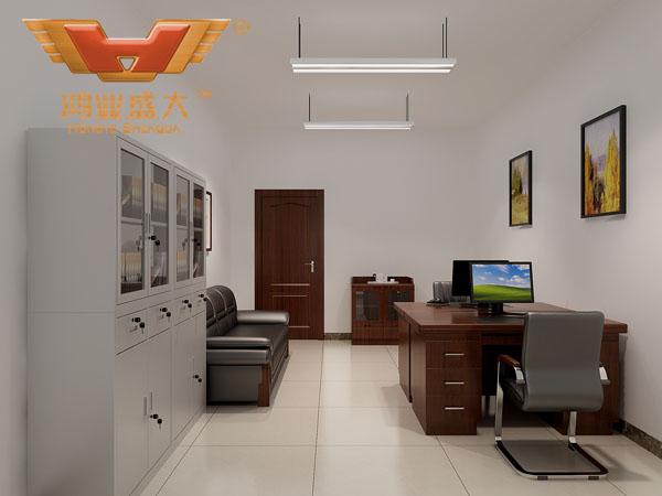 鴻業設計師根據要點3,為客戶設計的3D職員辦公室家具擺放效果圖解決方案