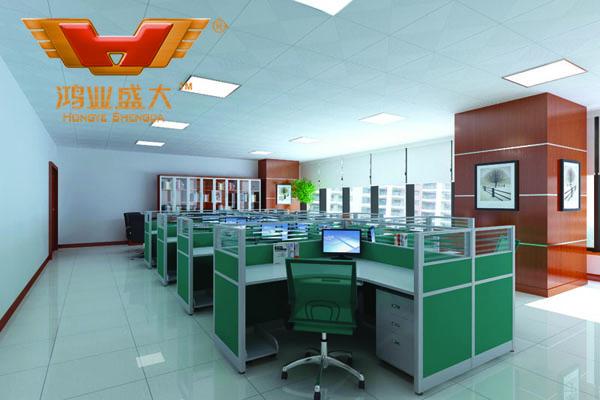 鴻業設計師根據要點1,為客戶設計的3D職員辦公室家具擺放效果圖解決方案