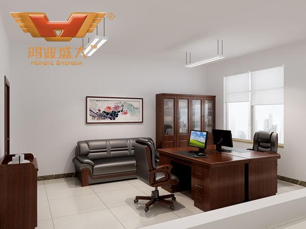 鴻業設計師根據要點2,為客戶設計的3D職員辦公室家具擺放效果圖解決方案