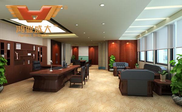 鸿业设计师根据要点3,为客户设计的3D总经理办公室家具摆放效果图解决方案
