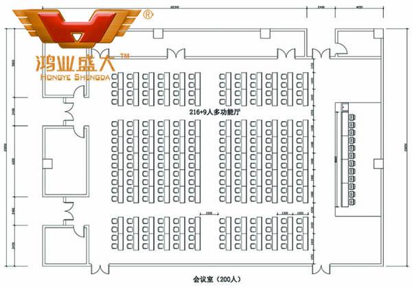 鴻業設計師根據客戶提供尺寸,設計會議室家具CAD平面圖