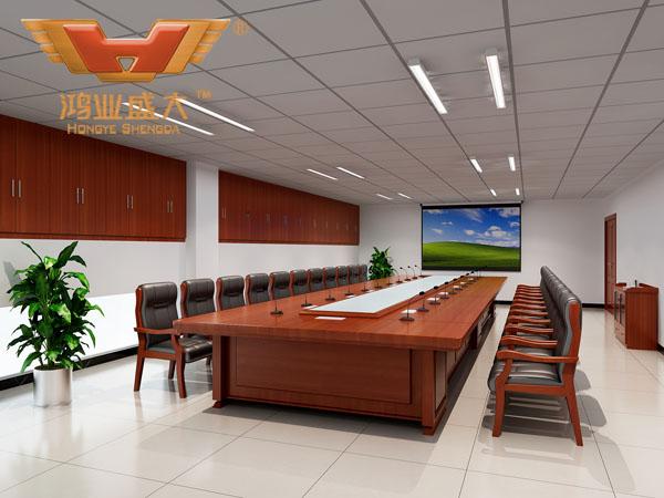 鸿业设计师根据要点1,为客户设计的3D会议室家具摆放效果图解决方案