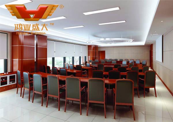 鴻業設計師根據要點2,為客戶設計的3D會議室家具擺放效果圖解決方案