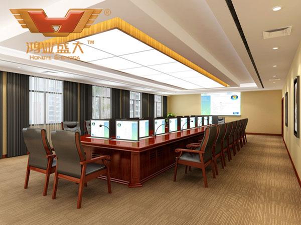 鸿业设计师根据要点3,为客户设计的3D会议室家具摆放效果图解决方案