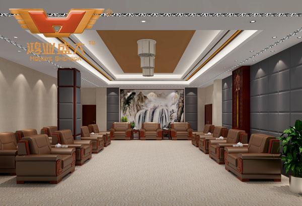 鸿业设计师根据要点2,为客户设计的3D接待室家具摆放效果图解决方案