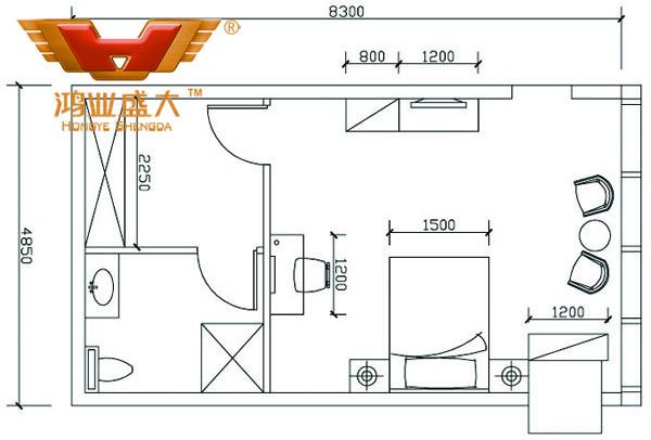 鴻業設計師根據客戶提供尺寸,設計休息室家具CAD平面圖