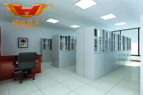 鸿业设计师根据要点1,为客户设计的3D资料档案室家具摆放效果图解决方案