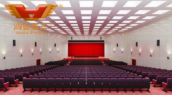 鸿业设计师根据要点1,为客户设计的3D礼堂家具摆放效果图解决方案