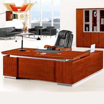 贴实木皮油漆老板桌 经理室实木亚博足彩app苹果版桌HY-D5124